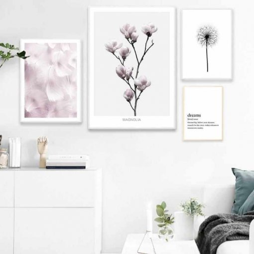 Feather and Flower Wall Art