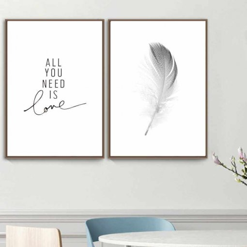 Feather and Love Wall Art