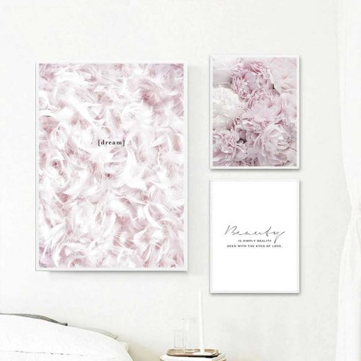 Feather and Flower Beauty Wall Art